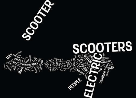 ELECTRIC SCOOTERS LOVE AT FIRST SPIN Text Background Word Cloud Concept