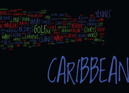 ENDEAVORS IN THE CARIBBEAN FOR ACTIVE TRAVELERS Text Background Word Cloud Concept Illustration