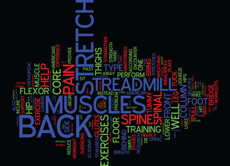 EXERCISE BACK PAIN AWAY Text Background Word Cloud Concept