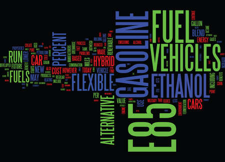 ETHANOL AND E FUELS OF THE FUTURE Text Background Word Cloud Concept