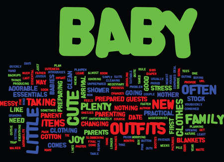 ESSENTIAL BABY CLOTHES AND ACCESSORIES Text Background Word Cloud Concept Ilustração