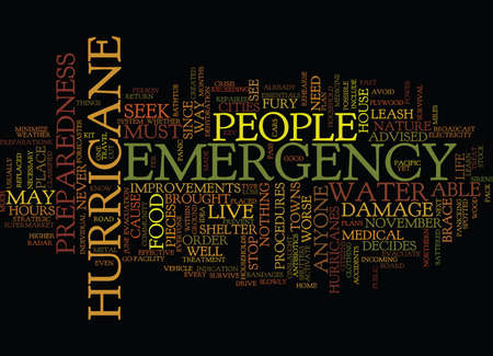 EMERGENCY PREPAREDNESS FOR A HURRICANE Text Background Word Cloud Concept Иллюстрация