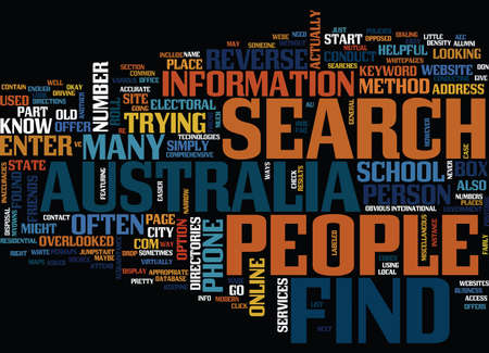 FIND PEOPLE IN AUSTRALIA Text Background Word Cloud Concept