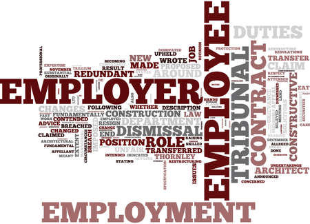 EMPLOYMENT LAW UNFAIR DISMISSAL CONSTRUCTIVE DISMISSAL LAST STRAW Text Background Word Cloud Concept