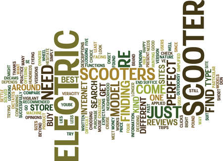 ELECTRIC SCOOTER FIND Text Background Word Cloud Concept Illustration
