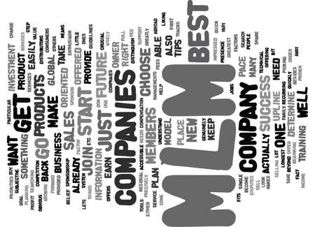 BEST MLM COMPANIES TIPS FOR YOUR SUCCESS Text Background Word Cloud Concept Illustration