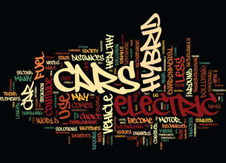 ELECTRIC AND HYBRID CARS Text Background Word Cloud Concept Illustration