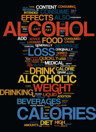 EFFECTS OF ALCOHOL ON YOUR WEIGHT LOSS Text Background Word Cloud Concept