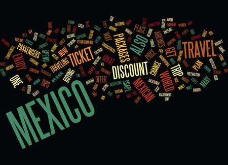 ENJOY TRIP WITH DISCOUNT TRAVEL TO MEXICO Text Background Word Cloud Concept Illusztráció
