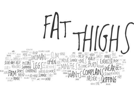 FIVE ACTIVITIES TO SLIM AND FIRM THIGHS Text Background Word Cloud Concept Ilustração