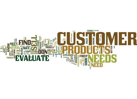 EVALUATE YOUR CUSTOMER Text Background Word Cloud Concept