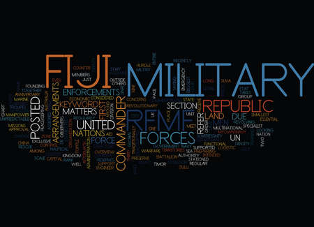 FIJI MILITARY Text Background Word Cloud Concept Ilustrace