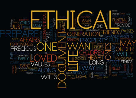 ETHICAL WILLS Text Background Word Cloud Concept