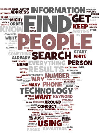 FIND OUT ABOUT PEOPLE Text Background Word Cloud Concept
