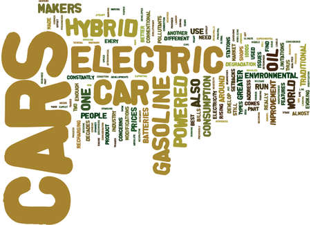 ELECTRIC HYBRID CARS Text Background Word Cloud Concept