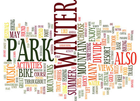 ENJOY GREAT SUMMER ACTIVITIES IN THE HEART OF THE ROCKY MOUNTAINS Text Background Word Cloud Concept