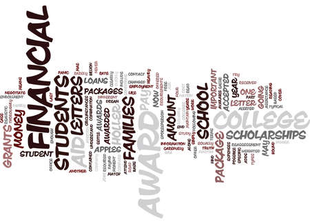 FINANCIAL AID AWARD LETTERS Text Background Word Cloud Concept