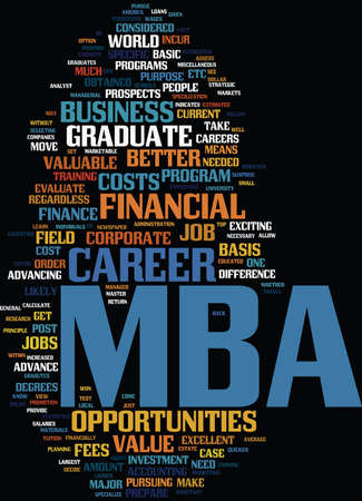 FINANCIAL VALUE OF AN MBA Text Background Word Cloud Concept