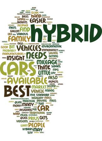 ベスト ハイブリッド車テキスト背景単語クラウド コンセプト  イラスト・ベクター素材