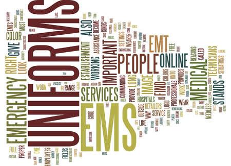 EMS UNIFORMS Text Background Word Cloud Concept