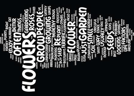 당신의 고유 한 꽃 정원으로 인생을 즐겁게 아름답고 쉬운 텍스트 배경 워드 클라우드 개념