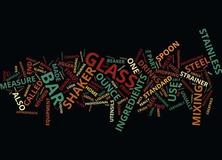 ESEENTIAL BAR EQUIPMENT Text Background Word Cloud Concept Çizim
