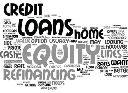 EQUITY LOANS ANALYZED AND COMPARED Text Background Word Cloud Concept