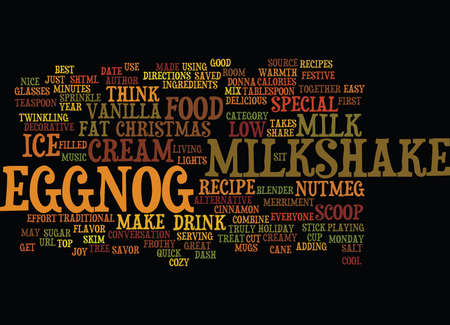 BEST RECIPES EGGNOG MILKSHAKE Text Background Word Cloud Concept