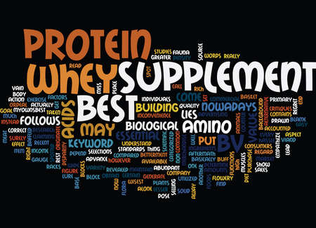 BEST WHEY PROTEIN SUPPLEMENT Text Background Word Cloud Concept