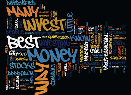 earned: BEST WAY TO INVEST MONEY Text Background Word Cloud Concept