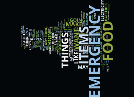 EMERGENCY FOOD Text Background Word Cloud Concept Illustration