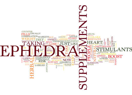EPHEDRA SUPPLEMENTS MAY NOT BE WORTH THE RISK Text Background Word Cloud Concept