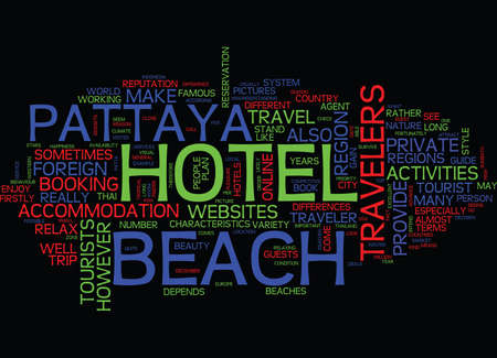 provide: ENDLESS HAPPINESS AT BEACH HOTEL PATTAYA Text Background Word Cloud Concept Illustration