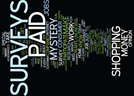 FIVE EXCELLENT REASONS TO TAKE PAID SURVEYS TODAY Text Background Word Cloud Concept Illustration
