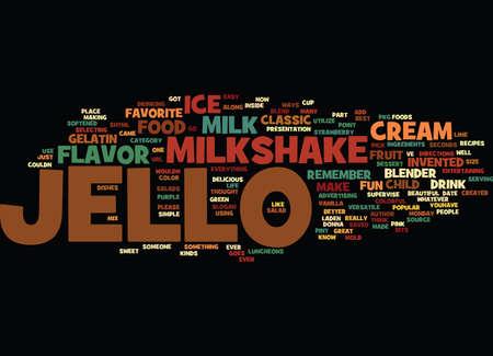 BEST RECIPES CLASSIC JELLO MILKSHAKE Text Background Word Cloud Concept
