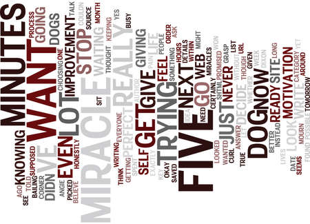 FIVE MINUTES BEFORE THE MIRACLE Text Background Word Cloud Concept Çizim