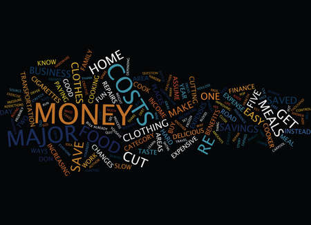 work less: FIVE MAJOR WAYS TO SAVE MONEY Text Background Word Cloud Concept