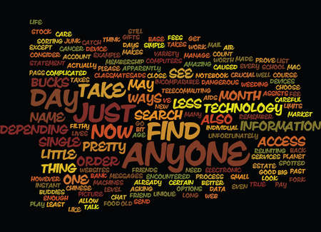 FIND ANYONE Text Background Word Cloud Concept