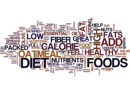 FIVE FOODS THAT FIGHT FLAB Text Background Word Cloud Concept