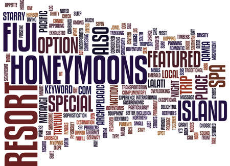 FIJI HONEYMOONS Text Background Word Cloud Concept Illustration