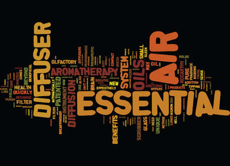 ESSENTIAL AIR DIFFUSER SYSTEM Text Background Word Cloud Concept Illustration
