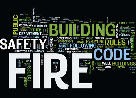 FIRE SAFETY UNDER THE FIRE CODE Text Background Word Cloud Concept