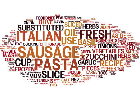 FIRE CRACKER ITALIAN SAUSAGE PASTA Text Background Word Cloud Concept