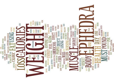 EPHEDRA AND WEIGHT LOSS Text Background Word Cloud Concept Illustration