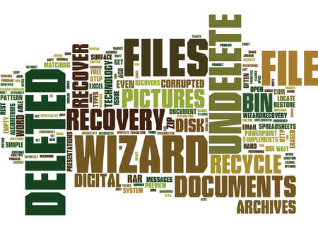 EMERGENCY FILE RECOVERY WITH UNDELETE WIZARD Text Background Word Cloud Concept