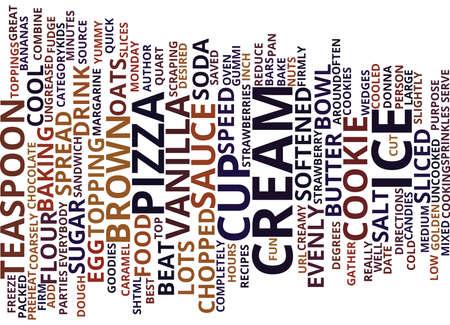 BEST RECIPES ICE CREAM COOKIE PIZZA Text Background Word Cloud Concept Ilustração
