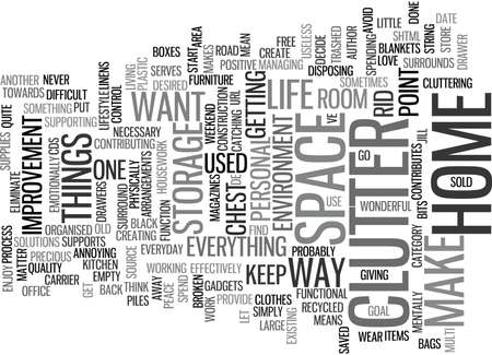 provide: ELIMINATE CLUTTER FROM YOUR HOME Text Background Word Cloud Concept