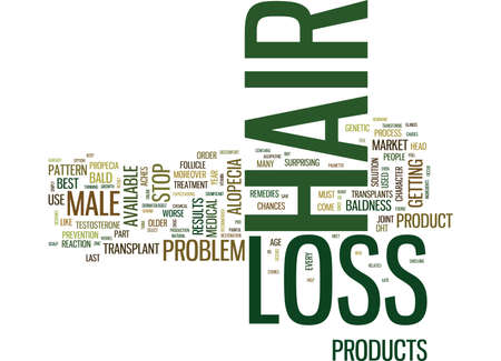 BEST MALE HAIR LOSS PRODUCTS Text Background Word Cloud Concept Ilustracja