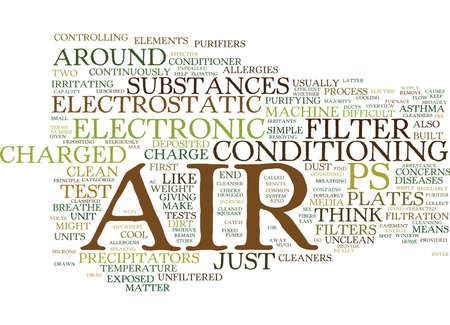 broadly: ELECTRONIC AIR FILTERS AN OVERVIEW Text Background Word Cloud Concept
