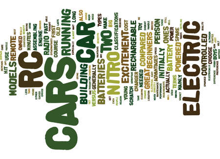ELECTRIC RC CARS Text Background Word Cloud Concept